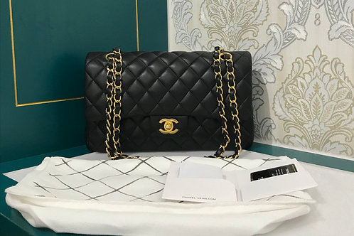 #23 Like New Chanel Classic Double Flap Medium Black Lamb with GHW