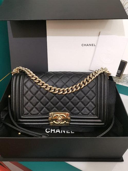 #23 LNIB Chanel Boy Old medium Caviar Black with GHW