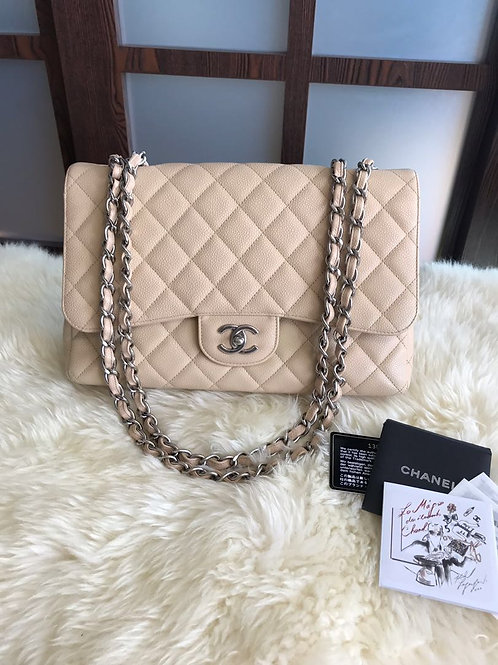 Chanel Jumbo Classic Single Flap Caviar Beige With Shw