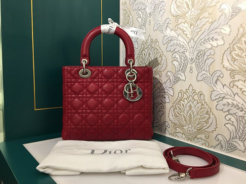 Like New Lady Dior Red Calfskin with SHW