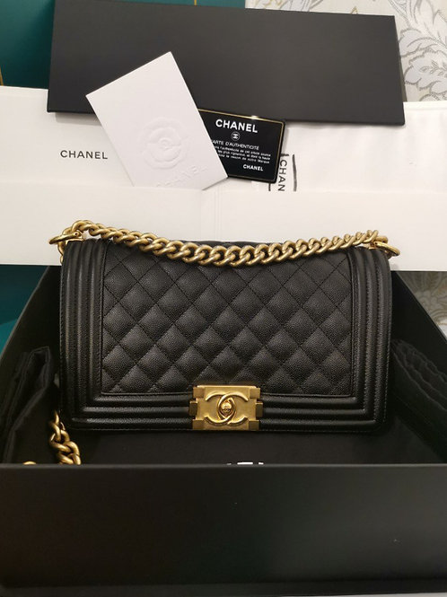 BNIB Chanel Boy Old Medium Black Caviar with aged GHW