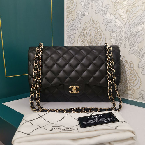 #18 Brand New Chanel Jumbo Classic Double Flap Black Lambskin with GHW
