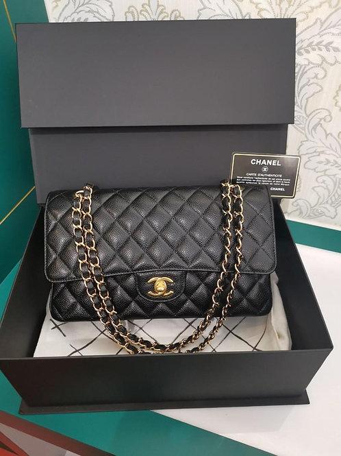 #19 LNIB Chanel Medium Classic Double Flap Black Caviar GHW
