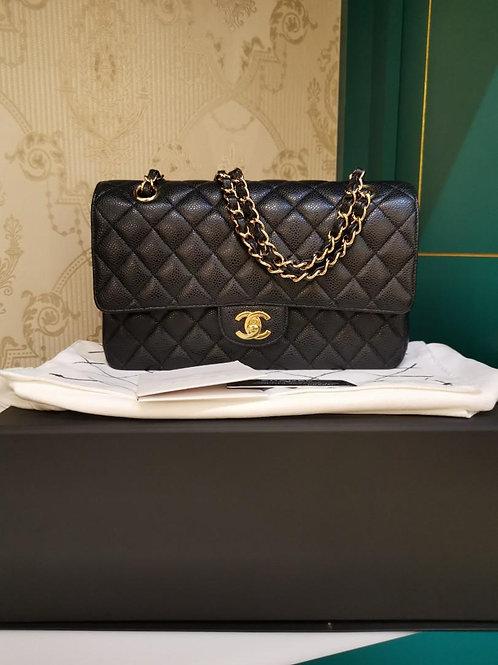 #19 LNIB Chanel Classic Double Flap Medium Black Caviar GHW