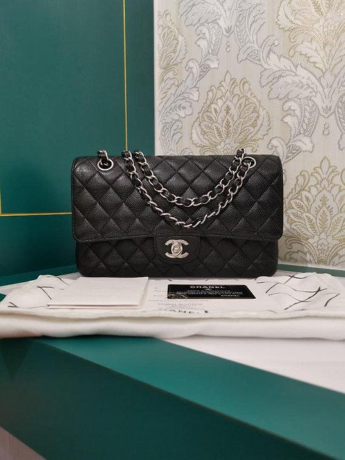 #18 Chanel Classic Double Flap Black Medium Caviar with SHW