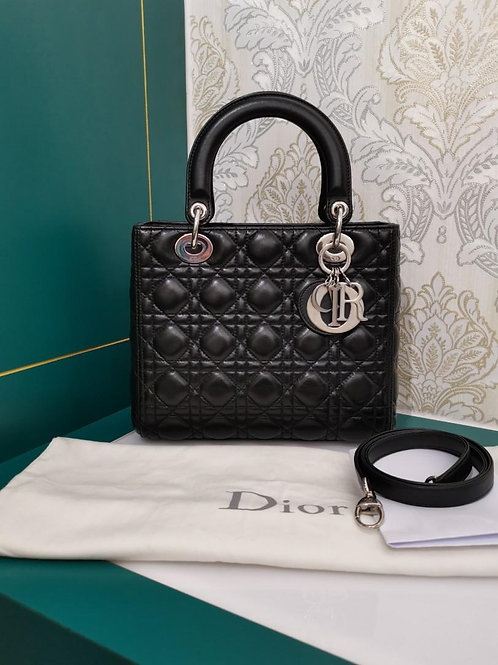 Like New Lady Dior Medium Black Lamb with SHW