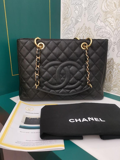 #17 Excellent Chanel GST Black Caviar with GHW