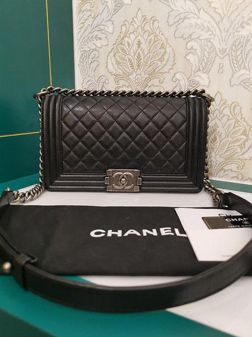 #27 Like New Chanel Boy Old Medium Blavk Caviar with RHW
