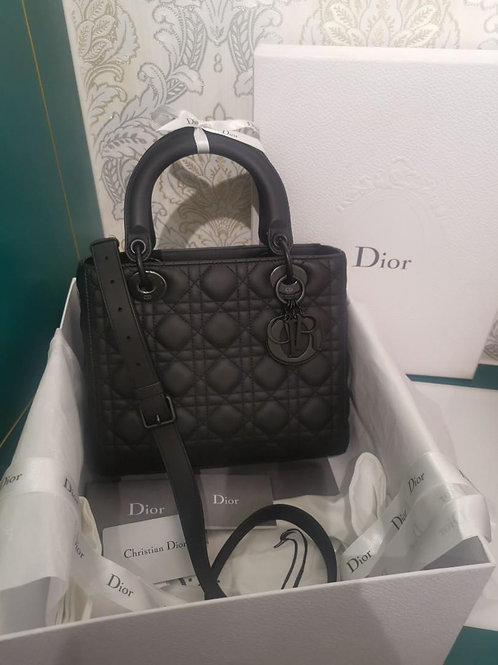 BNIB Lady Dior Medium Ultra Matte So Black Calf leather