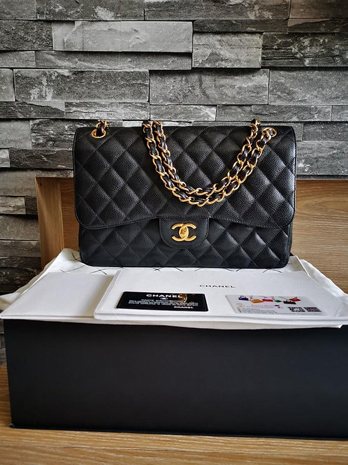 #22 LNIB Chanel Jumbo Classic Double Flap Black Caviar with GHW