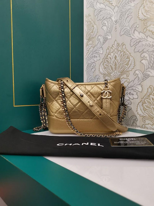 #25 Like New Chanel Gabrielle Hobo Small Gold Aged Calf with 3 HW