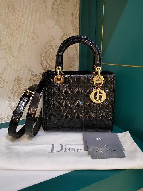 LNIB Lady Dior Black Patent Medium GHW (Cash S$3,380)