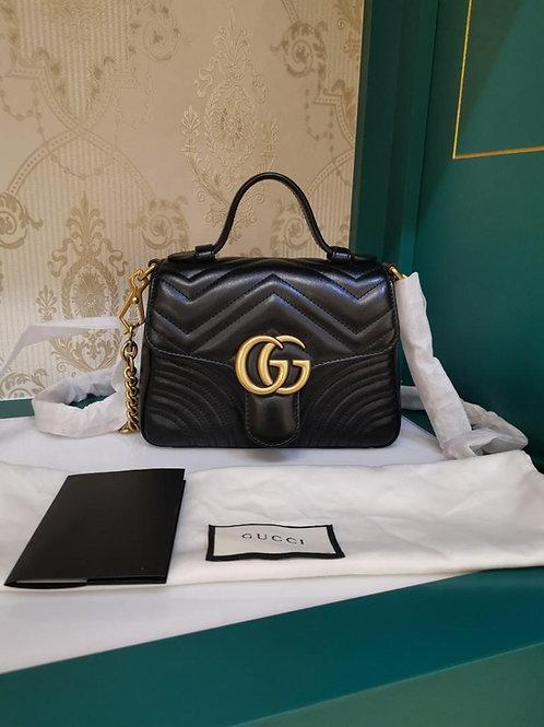 Brand new Gucci Marmont Top Handle Mini Black Calf aged GHW