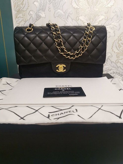 #19 BNIB Chanel Medium Classic Double Flap Black Lambskin with GHW