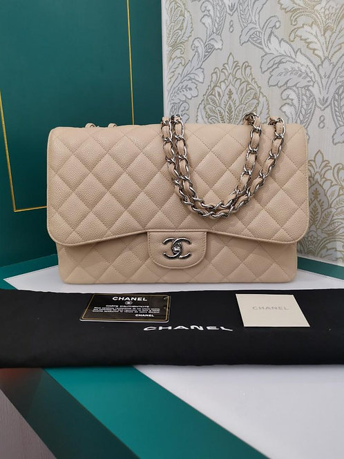 #13 Like New Chanel Jumbo Classic Single Flap Beige Caviar SHW