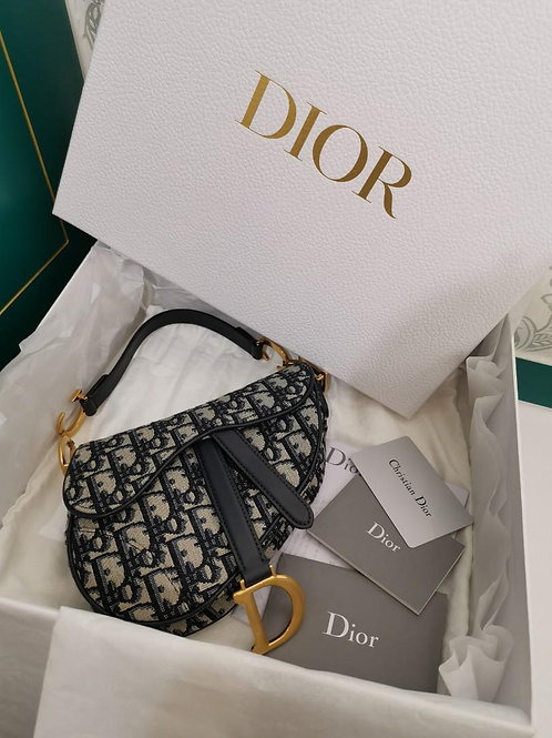 BNIB Dior Saddle bag mini in blue Oblique jacquard canvas, calfskin leather
