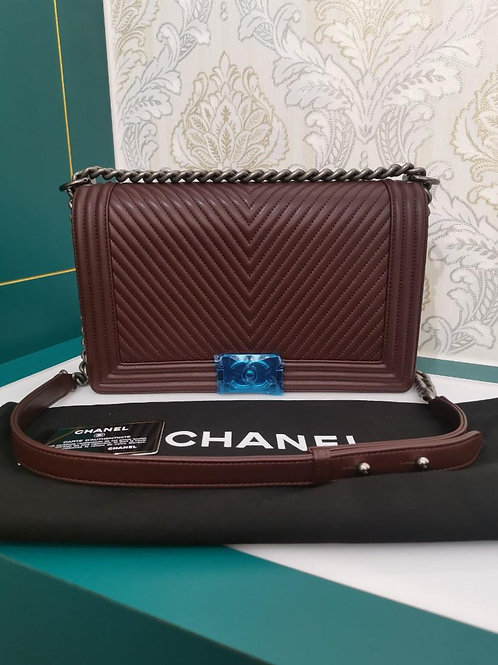 #19 Brand New Chanel Boy New Medium Wine Red Calf with RHW