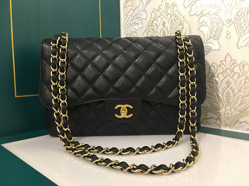 Like New Chanel Jumbo Classic Double Flap Caviar Black with GHW