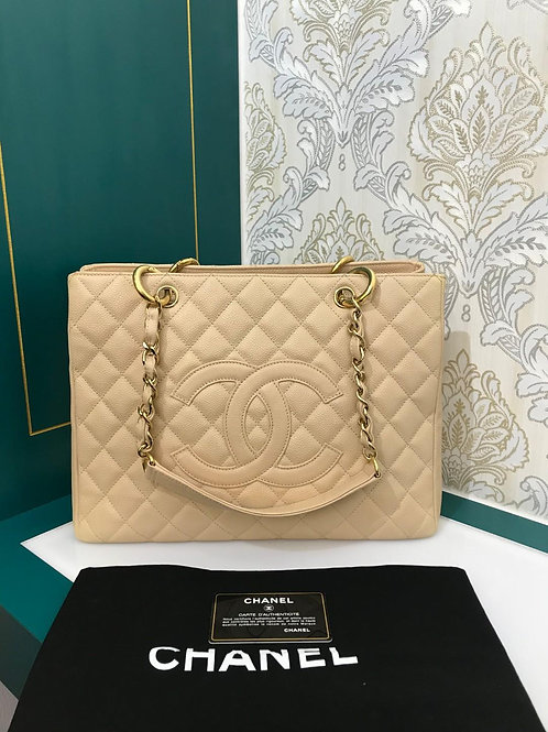 #13 Like New Chanel GST Beige Caviar with GHW