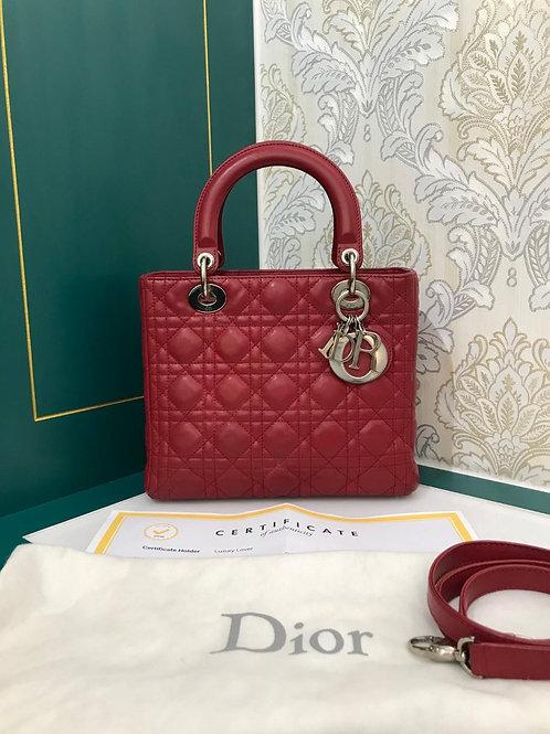 Lady Dior Red Calf medium with SHW