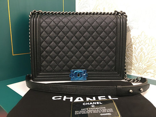 Brand New Chanel boy Large Black Caviar with RHW
