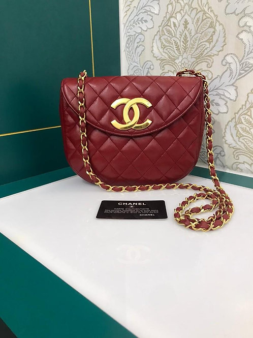 Chanel Vintage Round Bag Red Lamb GHW