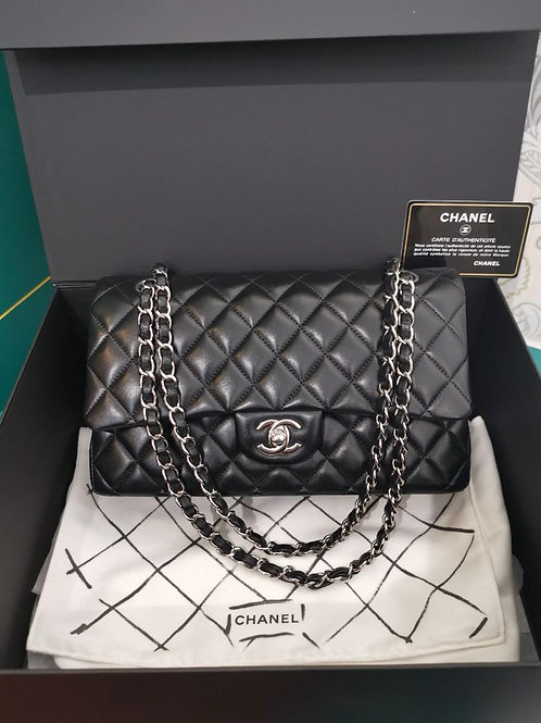#24 LNIB Chanel Medium Classic Double Flap Black Lamb SHW