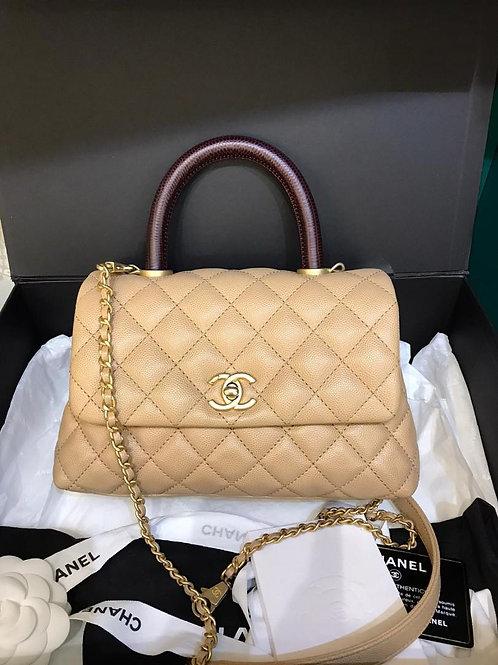 #28 LNIB Chanel Coco Handle Small Beige/Caramel Caviar GHW