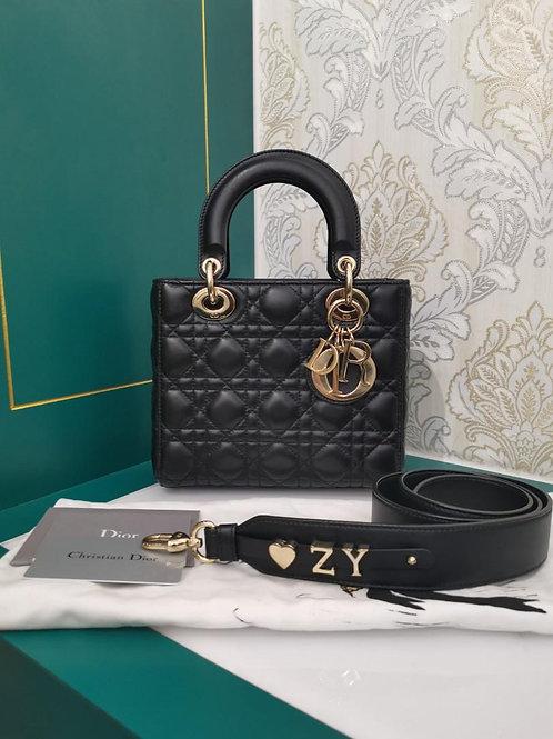 Like New Lady Dior Small My ABCDior Bag Black Lamb light GHW