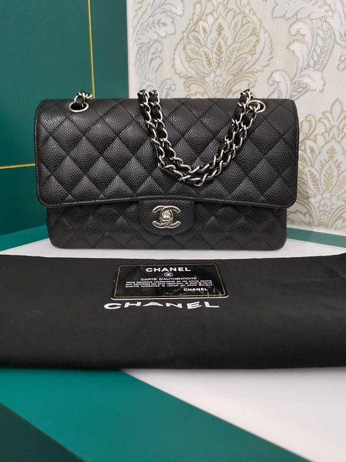 #13 Like New Chanel Classic Double Flap Medium Black with SHW