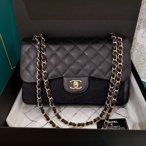 #18 BNIB Chanel Jumbo Claasic Double Flap Caviar Black with GHW