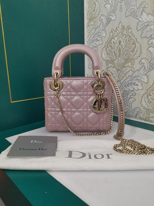 Like New Lady Dior Mini Pearly Pink Lamb GHW