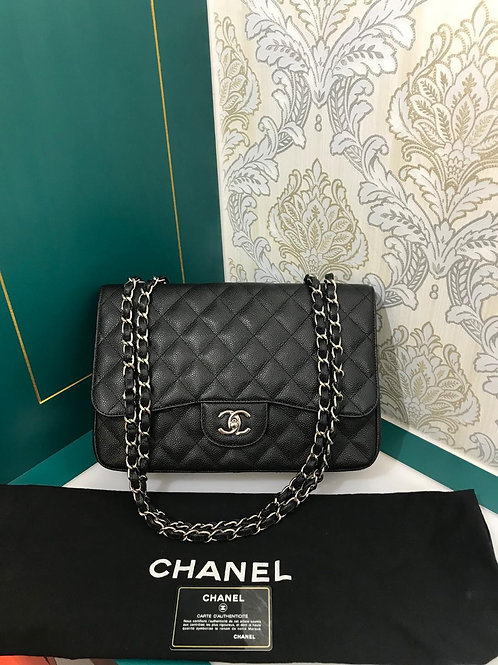 #13 Almost New Chanel Jumbo Single Flap Black Caviar with SHW