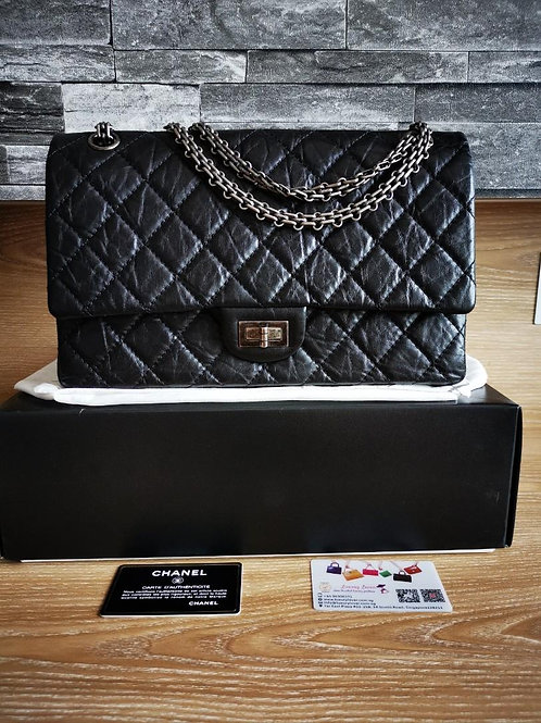 #14 LNIB Chanel 2.55 226 Black Distressed calf with RHW