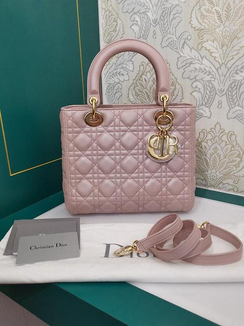 Brand New Lady Dior Medium Pearly lotus Pink Lamb GHW
