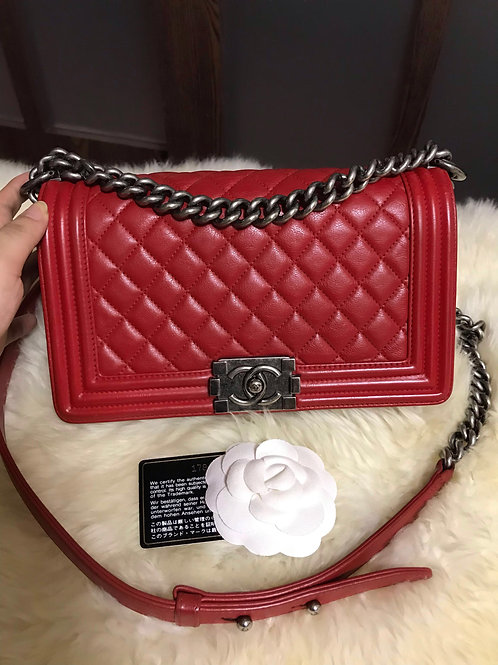 Chanel Boy old medium Calfskin Red With Rhw