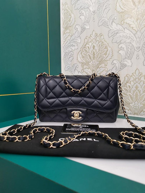 #21 Almost New Chanel quilted Diana Flap Deep Blue Lamb with Matte GHW