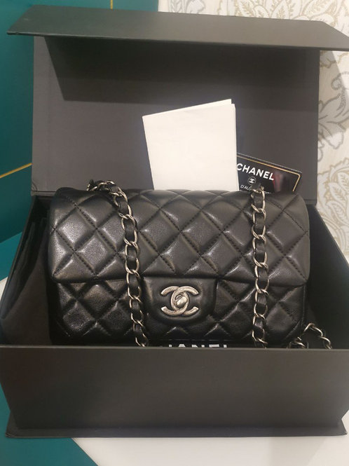 #20 LNIB Chanel mini rectangular Classic Flap Black Lamb with RHW