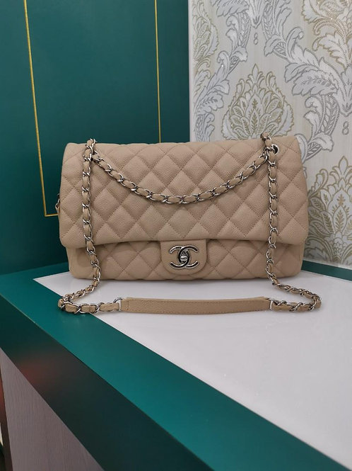 Like New Chanel Easy Flap Jumbo Beige Caviar with SHW