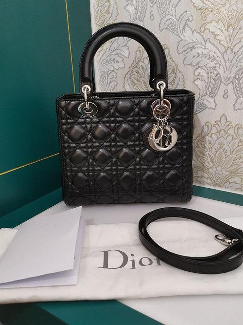 Like New Lady Dior Medium Black Lamb with SHW