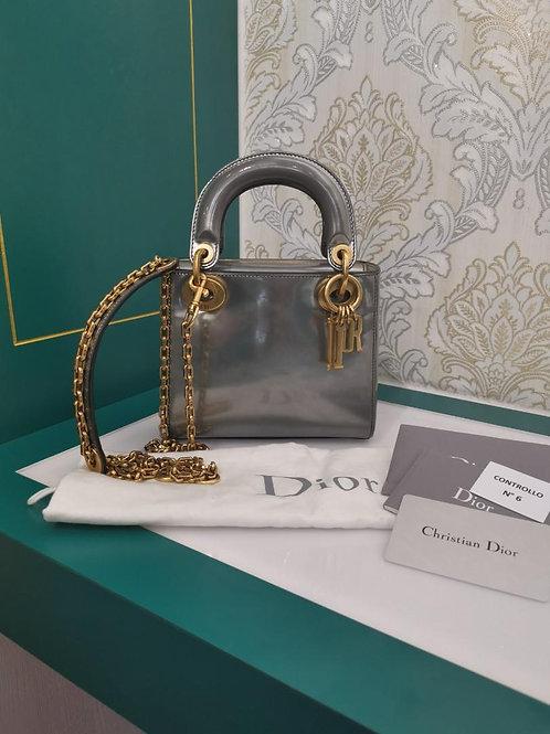 Lady Dior Mini Silver Calf with aged GHW