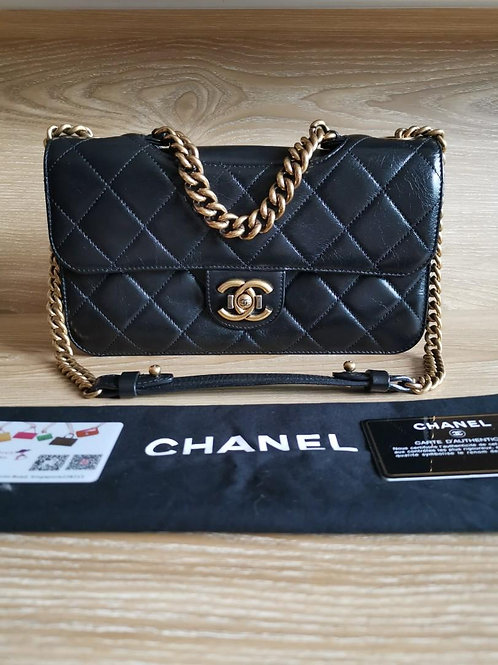 #20 Like New Chanel Perfect Edge Black Distressed Calf with Aged GHW