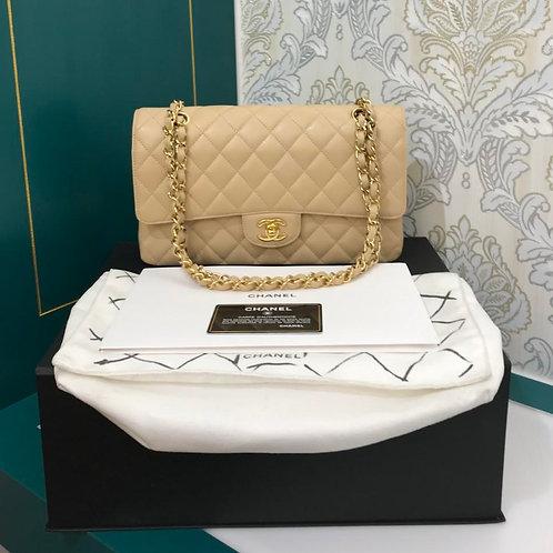 #16 LNIB Chanel Medium Classic Double Flap Beige Caviar with GHW