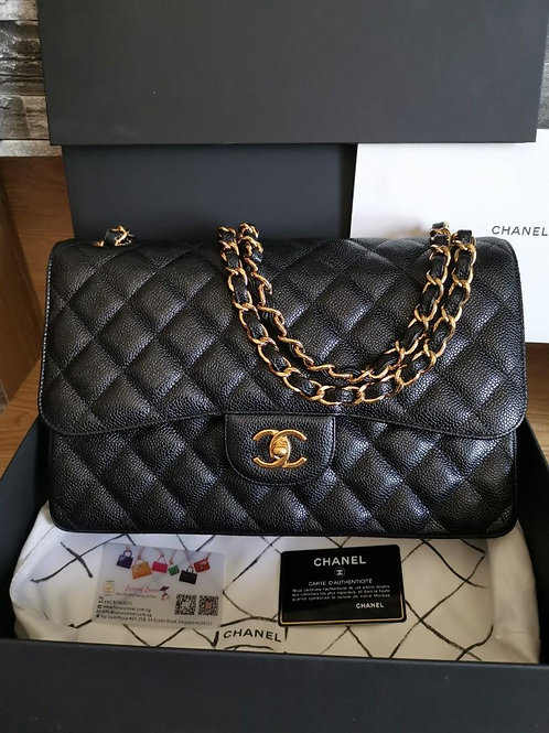 #20 LNIB Chanel Jumbo Classic Double Flap Black Caviar with GHW