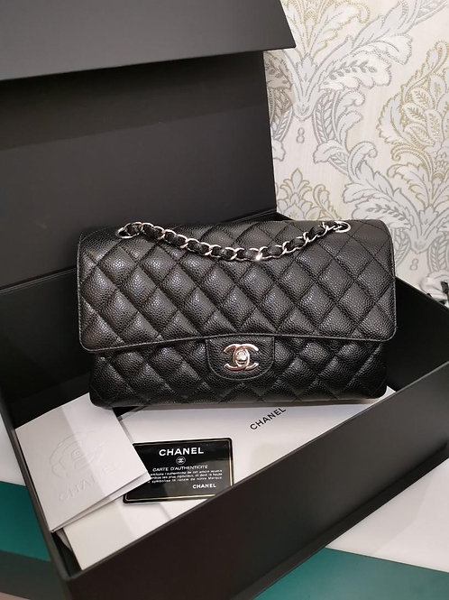 #24 BNIB Chanel Classic Double Flap Medium Black Caviar with SHW