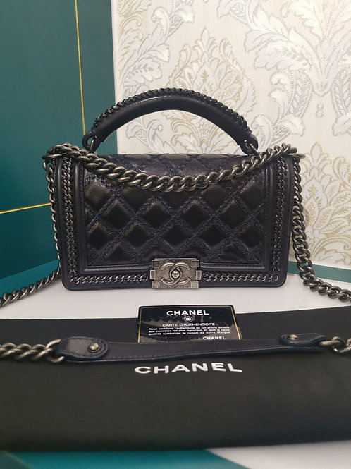#21 Stunning Like New Chanel Boy with Chain Handle Black Calf old medium with RH