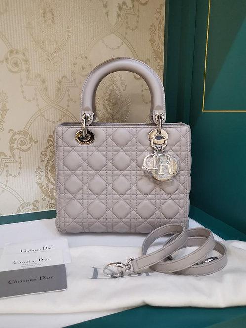 Brand New Lady Dior Medium Grey Lamb SHW