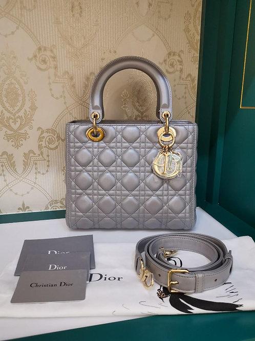 Brand New Lady Dior Medium Pearly Grey Lamb GHW
