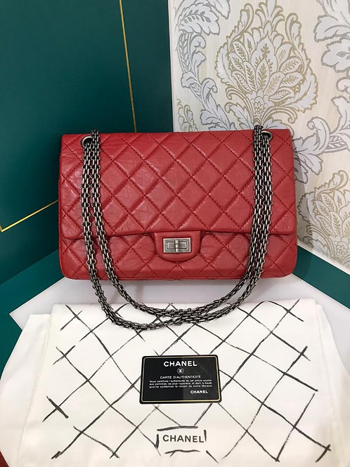 #16 Almost New Chanel Reissue 2.55 226 Red distressed Calf with RHW