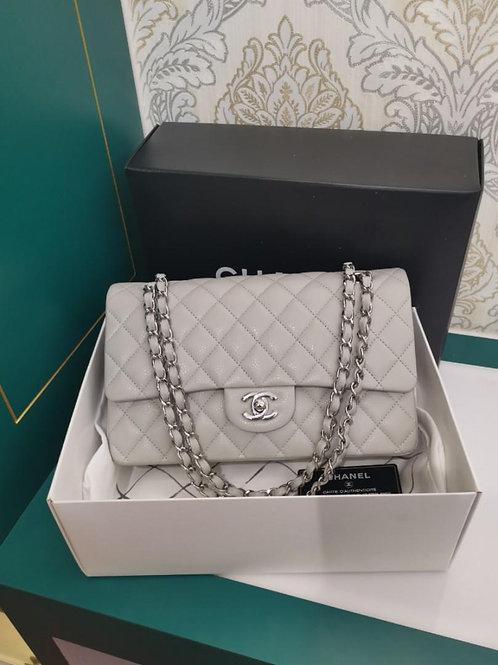#14 Chanel Medium Classic Double Flap Grey Caviar SHW